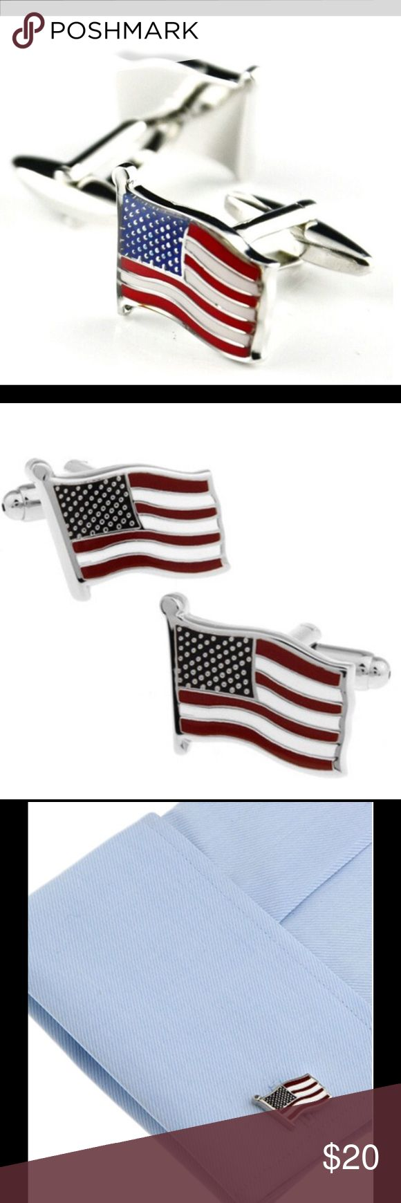 United States USA Flag Silver Cufflinks Mens All of our cufflinks are a perfect complement to  Wedding party gifts, Fathers day, Christmas, Graduation, Boss's day, Groom, Usher, Father of the bride, etc Material: Zinc Alloy unbranded Accessories Cuff Links