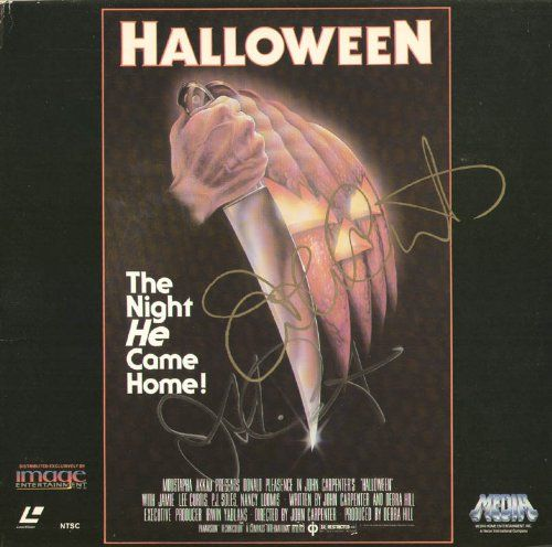 HALLOWEEN MOVIE CAST - LASER MEDIA COVER SIGNED CO-SIGNED BY: JAMIE LEE CURTIS JOHN CARPENTER @ niftywarehouse.com #NiftyWarehouse #Halloween #Scary #Fun #Ideas