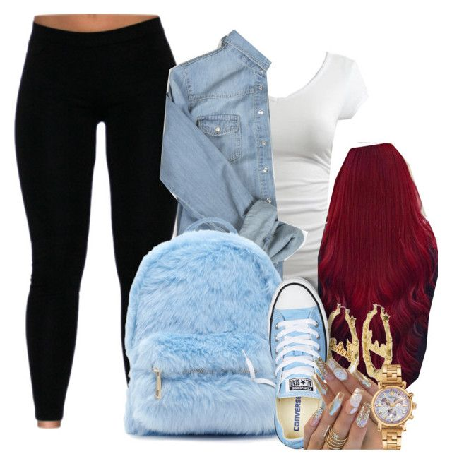 Blueberry and Cherry by melaninprincess-16 on Polyvore featuring polyvore fashion style Wet Seal Converse Forever 21 Versace Disney Couture clothing