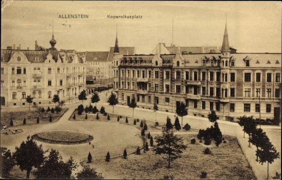 Olsztyn-Allenstein, Ostpreußen, Kopernikusplatz aus der Vogelschau