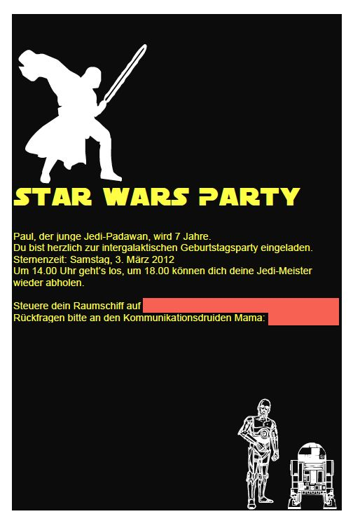 322 besten louis star wars party ideas bilder auf pinterest, Einladung