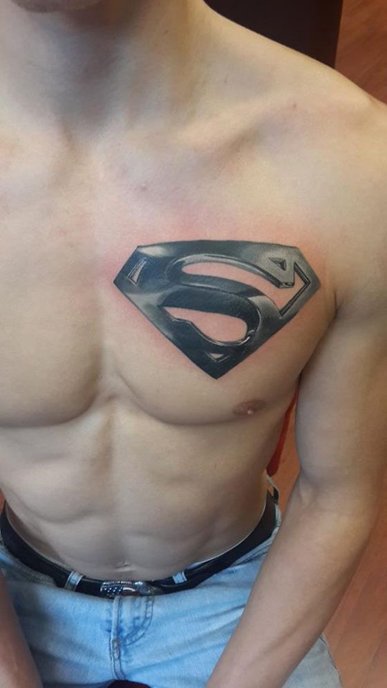 http://tattooideas247.com/superman/ Superman Chest Tattoo #Chest, #Emblem, #Film, #GreySilver, #Logo, #Movie, #Superman