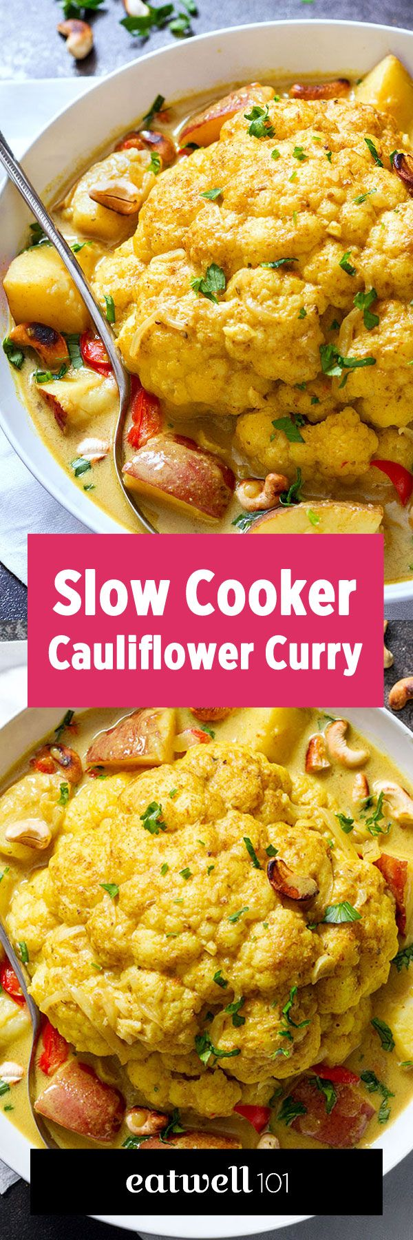 A slow-cooked, coconut-based whole cauliflower curry is taken up a notch with the addition of sweet red peppers and chopped potatoes. eatwell101.com