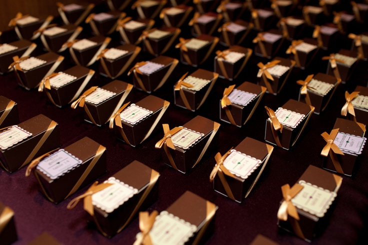 functional favors! these custom truffle boxes make delicious escort cards!    #truffles #favors #custom #wedding