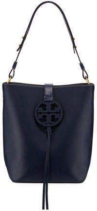 a7f71ccf7 Tory Burch Miller Smooth Leather Tassel-Tab Shoulder Hobo Bag ...