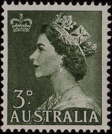 ACSC 295B) 1953. Queen Elizabeth II. 3d. Perforation 15 x 14. No watermark. Dull Green