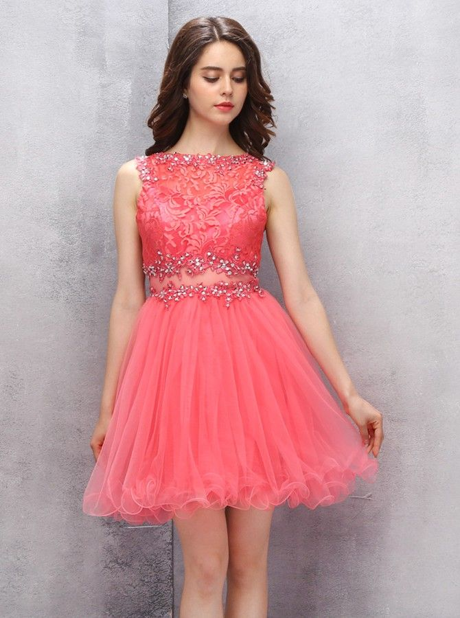 20027a1039 A-line Scoop Short Coral Organza Homecoming Dress With Appliques Lace  Sequins