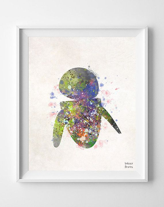 Eve, Print, Eva, Disney, Watercolor, Wall E, Poster, Illustration, Decor, Giclee Wall, Nursery, Gift, Wall Art, Movie, Robot, Baby [NO 282] by InkistPrints