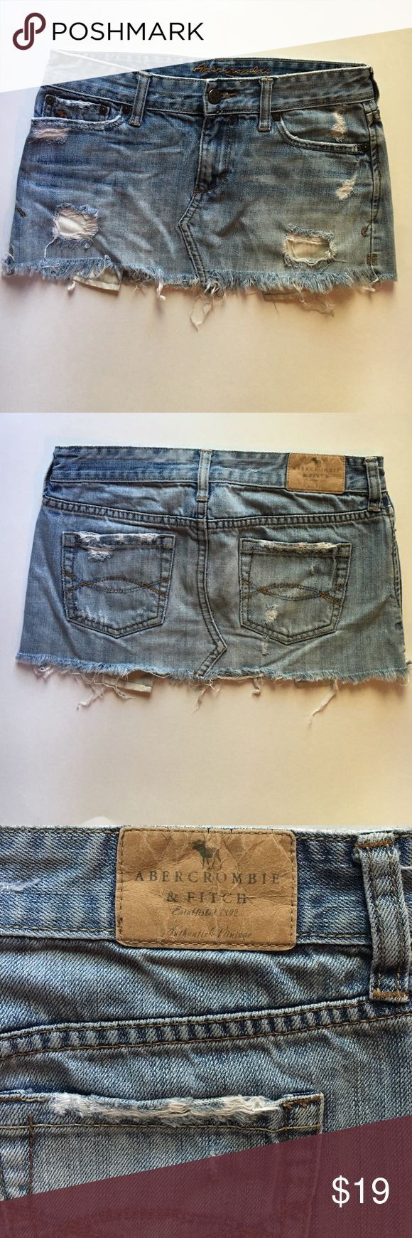 Abercrombie distressed jean skirt Abercrombie & Fitch Jean Skirt, distressed, size 00 Abercrombie & Fitch Skirts
