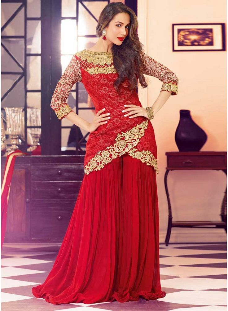 Beautiful Red Designer Net With Georgette Malaika ...