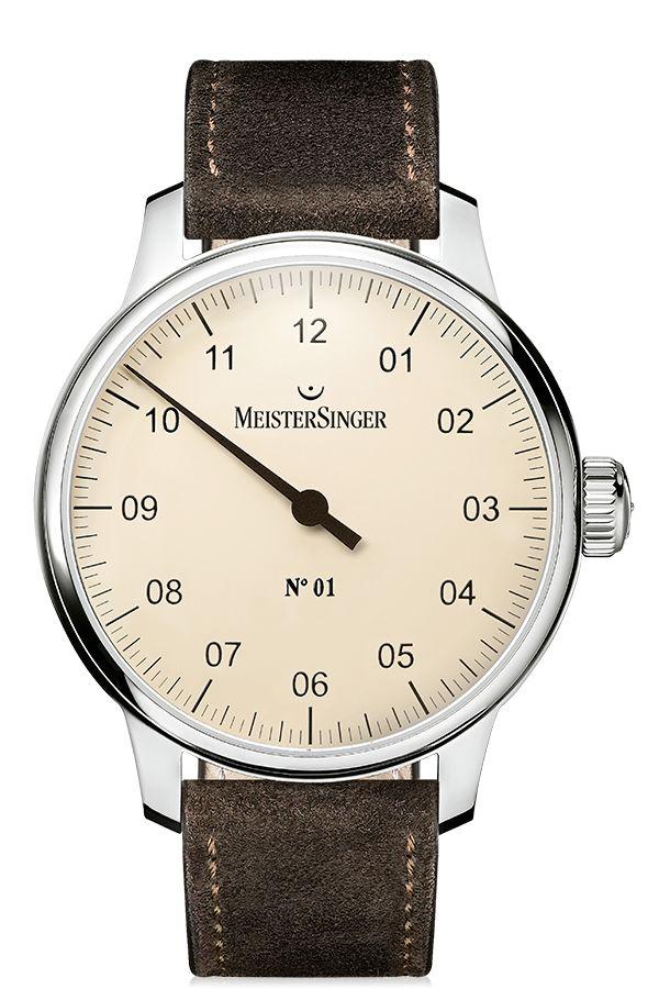 MeisterSinger Watch N. 01 Mens Suede Dark Brown #add-content #bezel-fixed…
