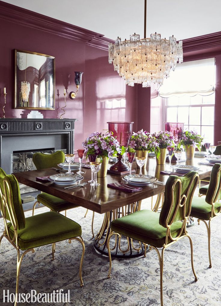 Designer Celerie Kemble finds the playful side of sophisticated colors in a Manhattan apartment that's refined enough for the urbane parents but rambunctious enough for high-energy kids. In the dining room, the wine-colored walls are coated with 7+ layers of lacquer, which makes them almost reflective. Click through for more colorful decorating ideas from designer Celerie Kimble.
