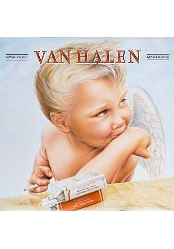 Artist: Van Halen  Album: 1984  Designer: Pete Angelus, Richard Seireeni, David Jellison, Margo Zafer Nahas  A very naughty baby angel, with a mischievous look and cig in hand. Proof that Rock 'n' roll can corrupt anyone or anything. The Devil's got the best tunes, but this Angel's got Jump and Hot For Teacher underneath its cover.