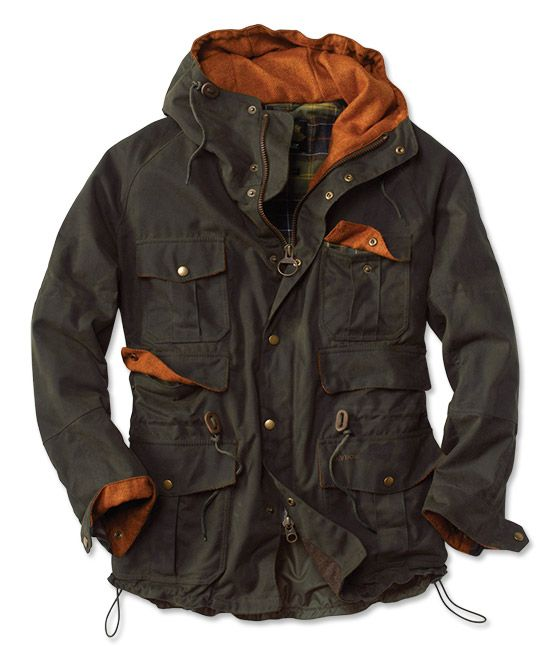 An Orvis exclusive. Cold, damp weather is no match for this Barbour men's jacket's 8-oz. waxed pure cotton shell. Designed and manufactured specifically for Orvis with utility in mind, Barbour's six-pocket mountaineering-style jacket offers a perfect, weathertight fit, thanks to a drawcord-adjustable waist and hem. Lined hood. Barbour men's jacket in olive. Waxed pure cotton shell. Wipe clean. Imported.
