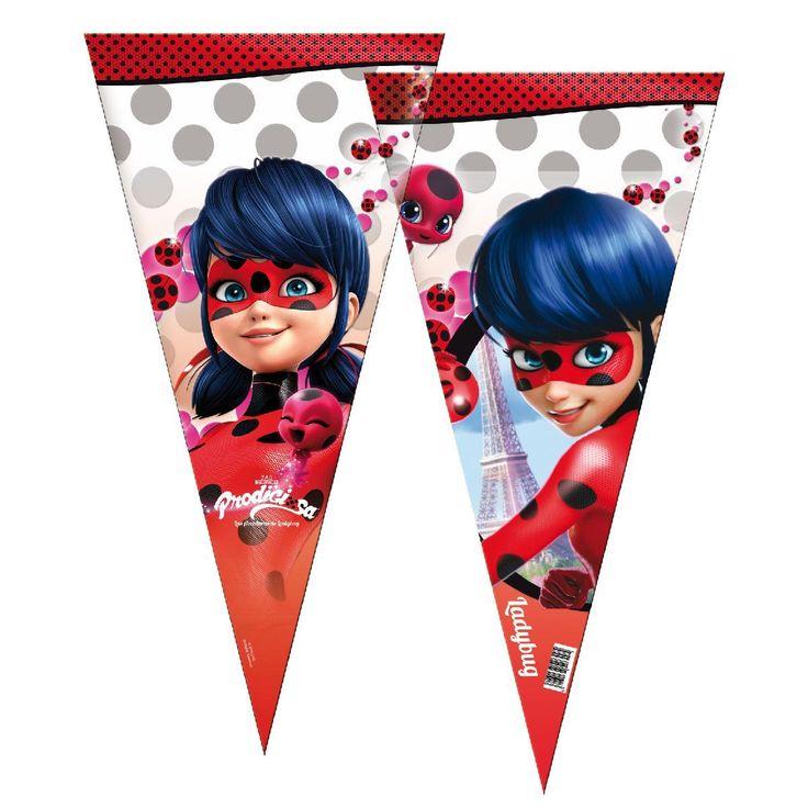 Bolsas para hacer conos de chuches de ladybug, para rellenar con lo que tu quieras.  #ladybug #fiestaladybug #decoracionladybug #cumpleañosladybug