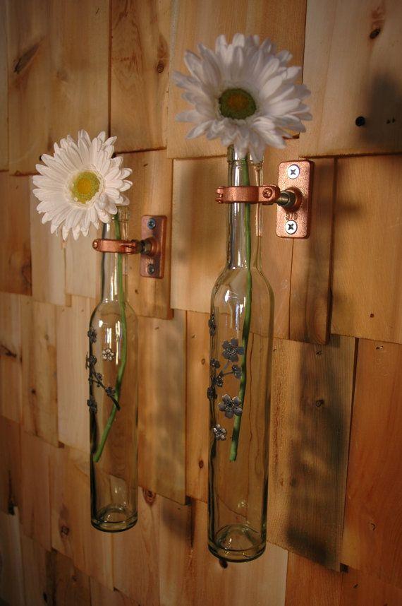 Metal flower stem wine bottle stem holders by PineknobsAndCrickets, $38.00