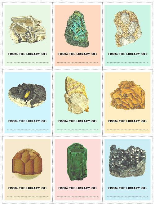 Free printable gemstone-themed bookplates! http://www.designsponge.com/2014/07/printable-freebie-gemstone-bookplates.html