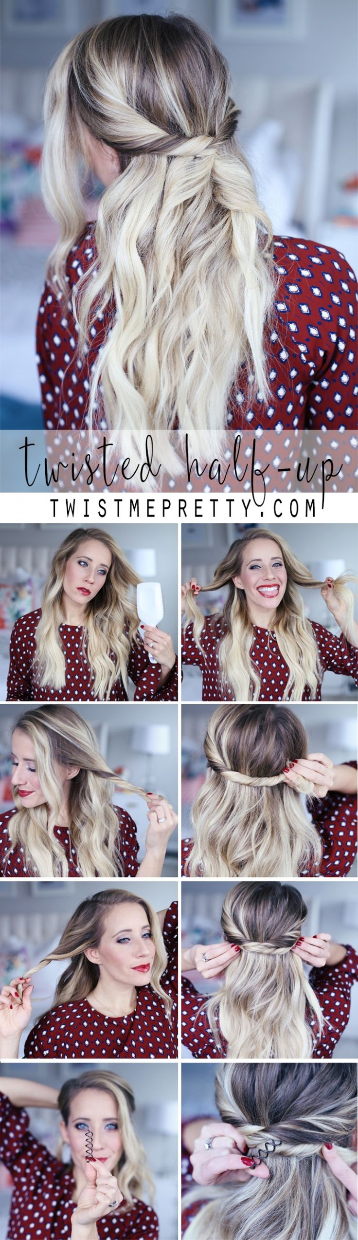 Twisted half-up style made easy with a Goody Spin Pin, and Abby's 8 easy steps. Plus another style in page