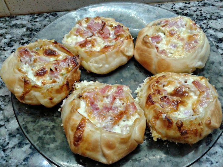 Canastitas de jamon, queso y verdeo