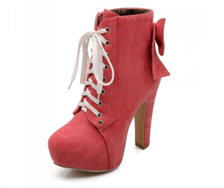 Высокое Качество Твердые высокие каблуки женщин сапоги Круглый Toe Lace-Up мода Боути Solid ботильоны на высоком каблуке короткие мартин сапоги