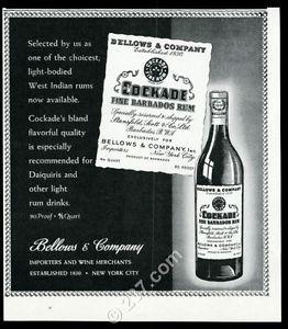 1944 Cockade Barbados Rum bottle art vintage print ad | eBay