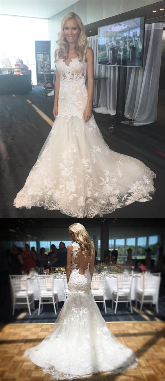 Mermaid Sleeveless Backless Wedding Dresses Lace Applique Bridal Gown