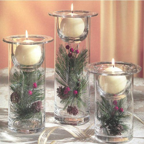 Easy christmas centerpiece ideas easy diy hurricane for Christmas candle displays