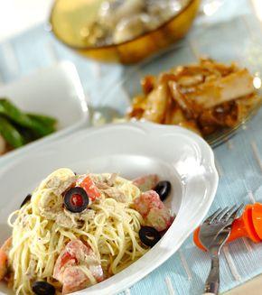 トマトとツナの冷製バジルパスタ」の献立・レシピ - 【E・レシピ】料理 ...