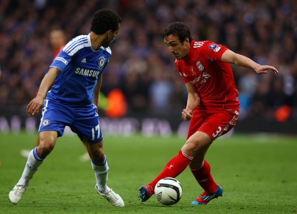 Jose Bosingwa of Chelsea and Jose Enrique of Liverpool in action during the FA Cup with Budweiser Final match between Liverpool and Chelsea at Wembley Stadium on May 5, 2012 in London, England.
