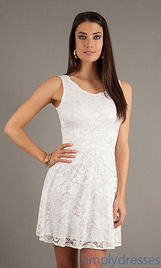 Short Sleeveless White Lace Dress by Jump at SimplyDresses.com
