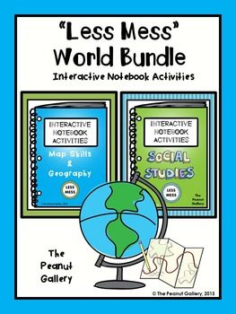 """This World Bundle is part of my popular """"Less Mess"""" Interactive Notebook Activities line and includes my social studies and map skills/geography resources at a discounted rate. Why not try the interactive notebook that's not only less mess but also LESS STRESS for you? ($)"""
