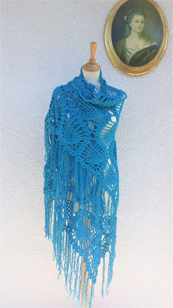 Blue Crochet Shawl Cotton Shawl Cotton Shawl Wrap Prayer