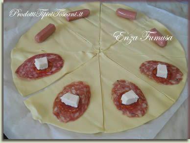 Cornetti di pasta sfoglia con salame e mozzarella 1 for Cucinare 1 kg di pasta