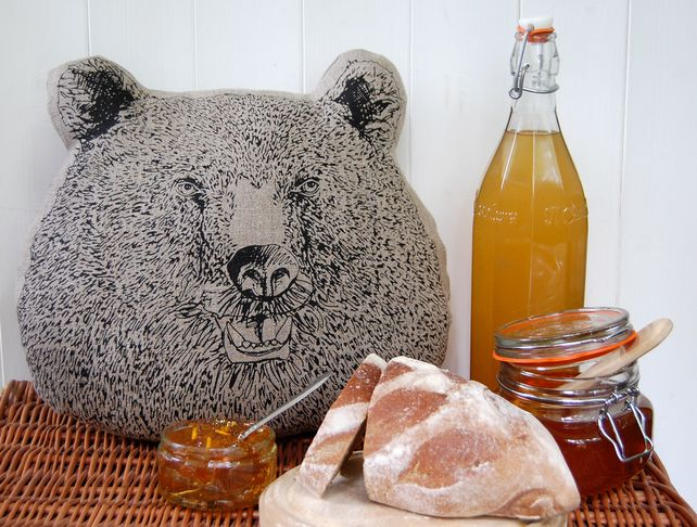Bear faced cushion made by Jenny McCabe  for Coo & co