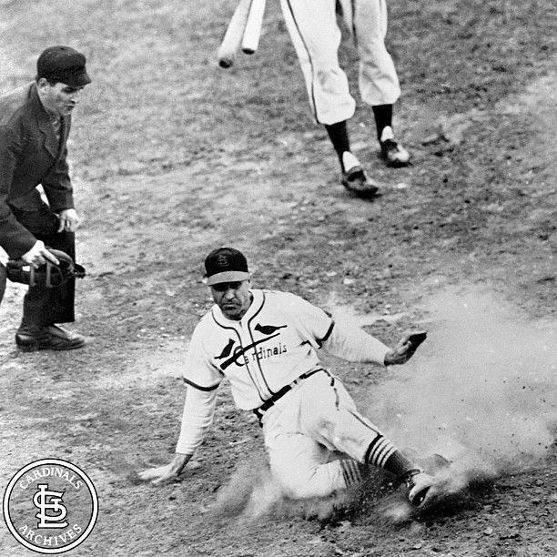 """On October 15, 1946, Enos Slaughter put on his now-famous """"mad dash"""" from first to home on a double hit by Harry Walker. This led the Cardinals to a 4-3, Game Seven World Series victory over Boston at St. Louis."""