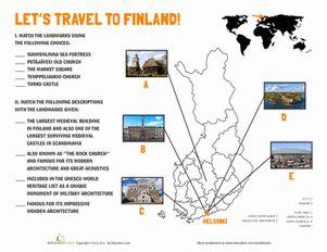 Fourth Grade Geography Worksheets: Finland Landmarks