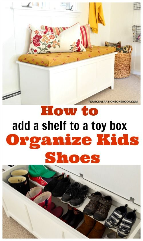 Perfect for organizing kids shoes for back to school! DIY Shoe Storage {tutorial}. How to add a shelf and repurpose an old toy box. We added a shelf to our existing toy box and now this box houses all the kids shoes. They are no longer piled on top of each other. Yay! :)