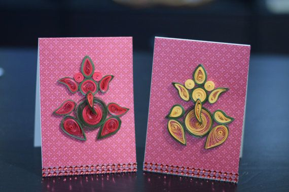 Diwali cards /  Ganesh ji cards quilled by FunWithPearl on Etsy