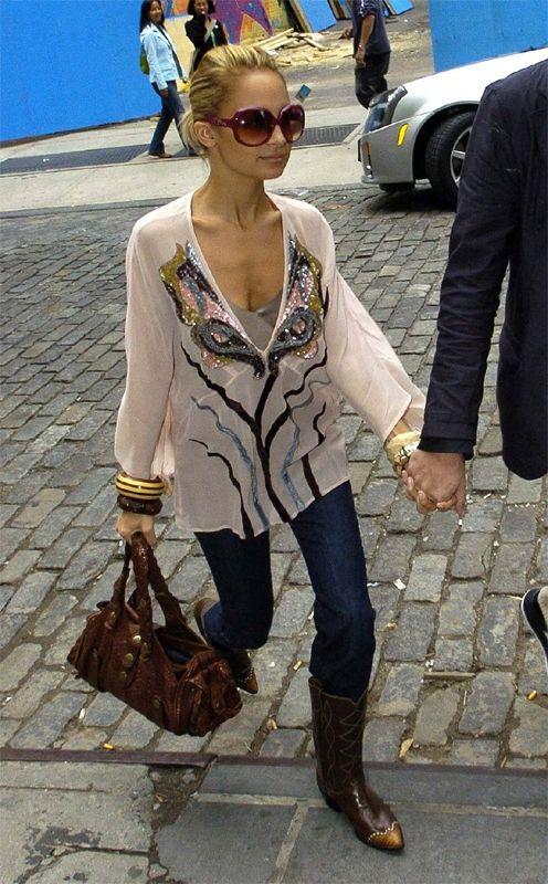 Nicole Richie wearing Antik Batik Blouse, Chloe Python Silverado ...