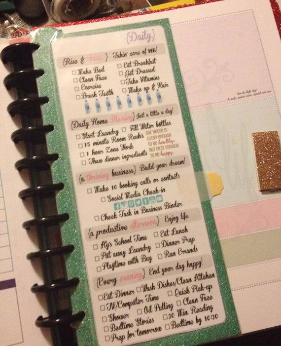 Daily bookmark for Planner. I should make something like this.