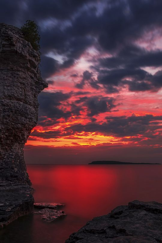 Sunrise on Flowerpot Island in Georgian Bay off the coast from Tobermory Ontario Canada,