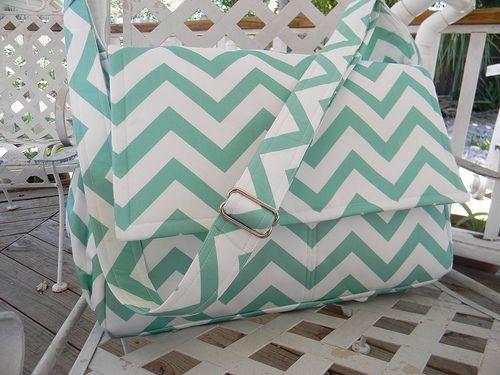 Mint Chevron Diaper Bag