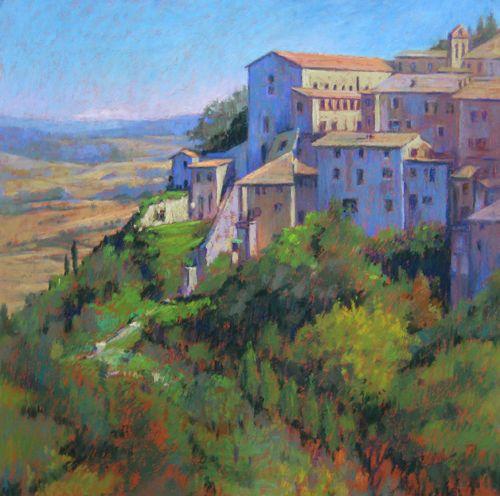 Italy Landscape Chalk Pastel Painting