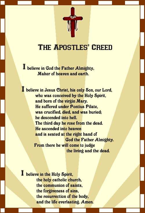 credo christianity and creed The apostles' creed is also known as the credo because in latin the opening  line  the african american practitioners drew on the mainstream christian.