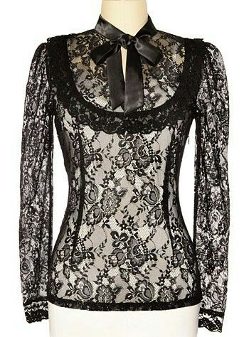 Dark Victoria Black Lace Steampunk Blouse