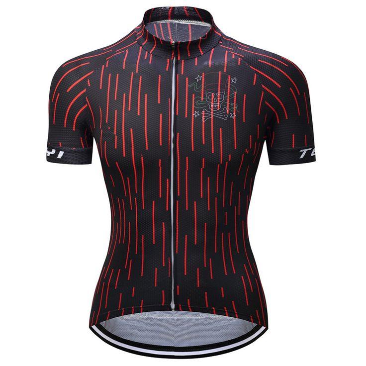 TELEYI Short Sleeve Stirpe Women Cycling Jersey Sport Shirt Top MTB Design Women Cycling Clothing Lycra Cycling Jersey Top #Affiliate