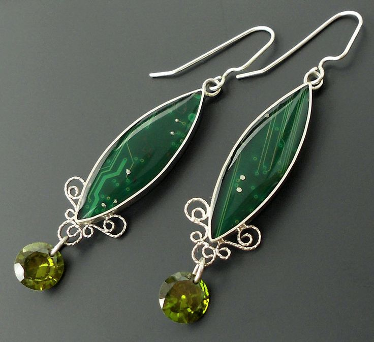 green filigree earrings by thebluekraken.deviantart.com on @deviantART