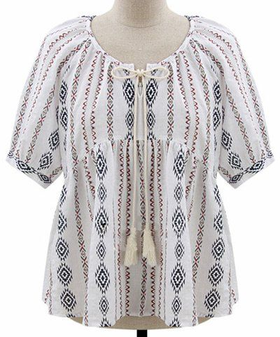 Casual Scoop Neck Short Sleeve Print Plus Size Linen Blouse For Women