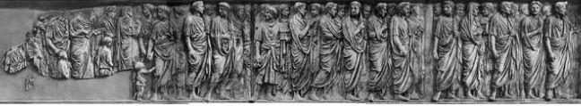 Face Nord de l'autel de la paix Ara Pacis Augustae 13 – 9 BC, 11 x 10m, champs de Mars, Rome
