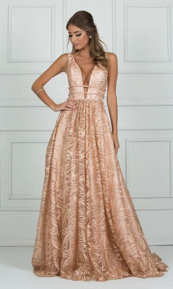 Vestidos Para Madrinhas De Casamento- Modelos E Dicas | Casamento in 2019 | Rose gold evening gown, Gold formal dress, Prom dresses